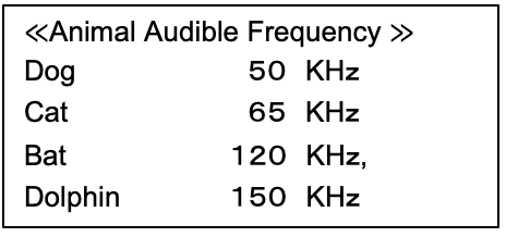 Animal audible frequency