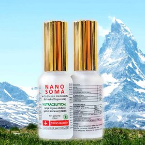 Nano Soma consists of Rice wax Policosanol & Pristine water from the Swiss Alps.